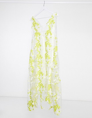 Lost Ink midaxi dress with frill hem in floral embroidered organza