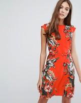 Oasis Tropical Print Belted Skater Dress