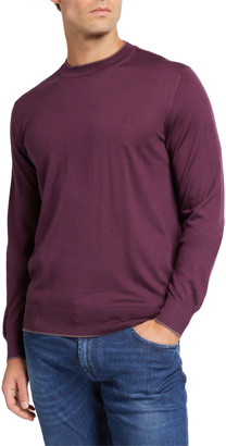 Stefano Ricci Men's Cashmere-Silk Sweater with Crocodile Leather Detail
