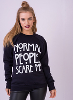 Missy Empire Frieda Navy Normal People Scare Me Sweatshirt