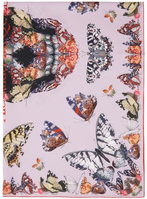 Alexander McQueen Pink Silk Butterfly Decay Skull Scarf