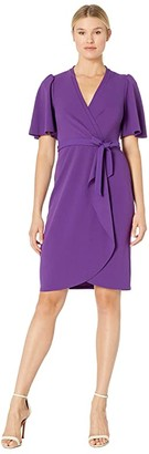 Donna Morgan Crepe Faux Wrap w/ Flutter Sleeve (Bright Purple) Women's Dress