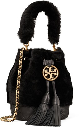 Tory Burch Fleming Soft Shearling Mini Bucket Bag