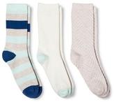 Merona Women's Crew Socks 3-Pack Texture Oatmeal One Size