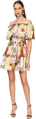 Dolce & Gabbana Ruffled Flower Print Poplin Mini Dress