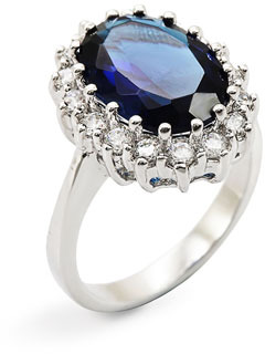 Ariella Collection Blue Stone & Cubic Zirconia Oval Ring