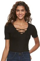 Mudd Juniors' Elbow Sleeve Lace Up Bodysuit