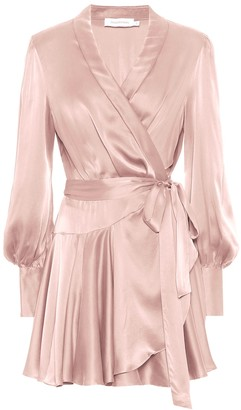 Zimmermann Exclusive to Mytheresa Silk-satin wrap minidress