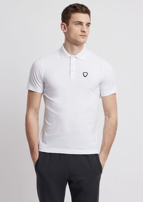 Emporio Armani Ea7 Stretch Cotton Polo Shirt With Logo On The Front