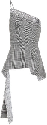 Roland Mouret One-shoulder Prince Of Wales Checked Wool-blend Jacquard To P