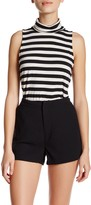Cupcakes And Cashmere Turtleneck Sleeveless Striped Tank
