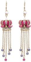 Betsey Johnson Imperial Crown Linear Earrings (Pink) - Jewelry