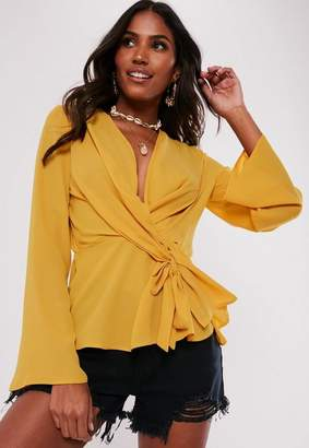Missguided Yellow Wrap Tie Knot Blouse