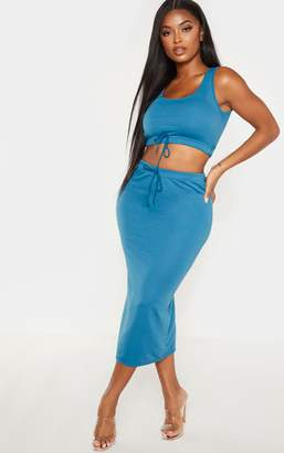 PrettyLittleThing Shape Petrol Blue Sweat Drawstring Midi Skirt