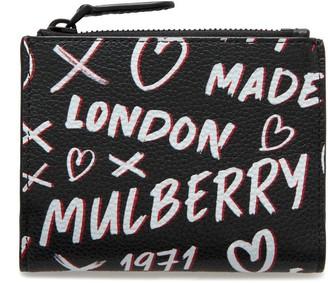 Mulberry Zipped Card Wallet Black Graffiti Print on Small Classic Grain