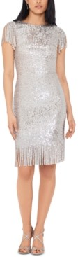 Xscape Evenings Fringed Sequinned Shift Dress