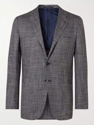 Kiton Puppytooth Cashmere, Virgin Wool, Silk And Linen-Blend Suit Jacket