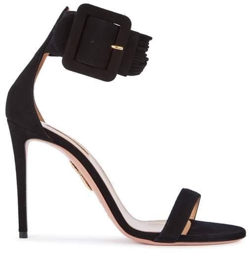 Aquazzura Casablanca Black Suede Sandals