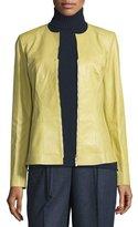 Lafayette 148 New York Maris Split-Neck Lambskin Leather Jacket, Plantain