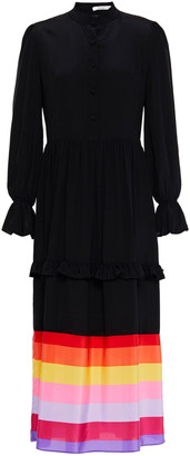 Olivia Rubin Florence Ruffle-trimmed Printed Silk Midi Dress