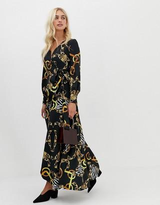 Zibi London wrap front chain patterned midi dress with slip detail-Black