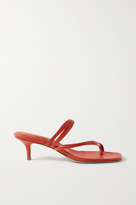 PORTE & PAIRE Leather Sandals - Tomato red
