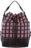 Opening Ceremony Leather-Accented Drawstring Backpack