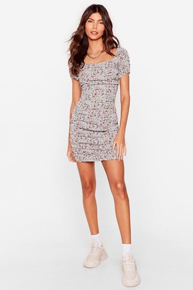 Nasty Gal Womens A Little Seedy Floral Ruched Dress - Green - 8, Green