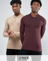 Asos 2 Pack Extreme Muscle Long Sleeve Polo SAVE