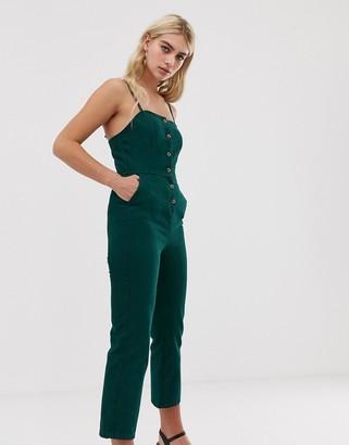 Asos Design DESIGN denim button through jumpsuit in green