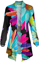 Lily Women's Open Cardigans BLK - Black & Teal Floral Pointed-Hem Open Cardigan - Women & Plus