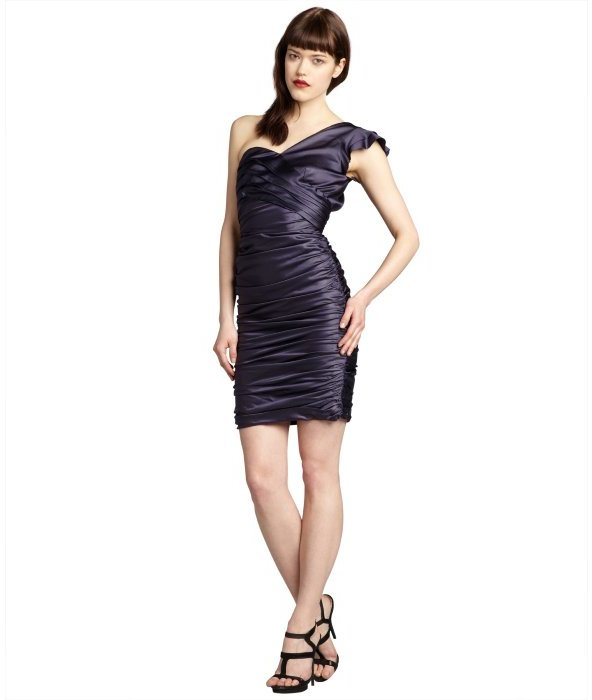 Vera Wang navy sateen ruched and pleated one shoulder dress