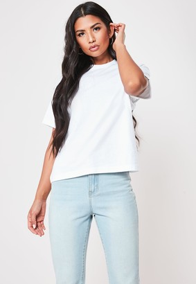 Missguided White Roll Sleeve Crew Neck T Shirt