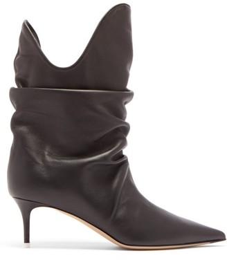 ATTICO The Slouchy Point-toe Kitten-heel Leather Boots - Womens - Black