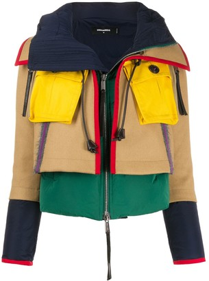 DSQUARED2 Layered Hooded Puffer Coat