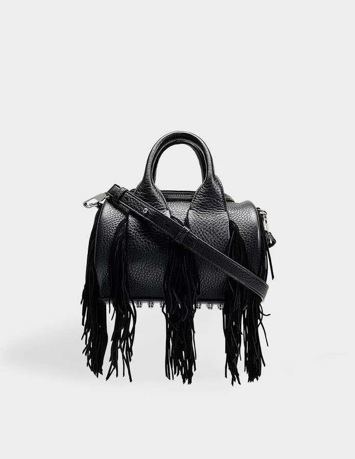 Alexander Wang Mini Rockie Bag With Fringes in Black Calfskin