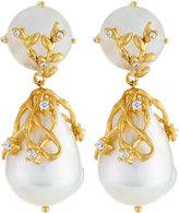 Indulgems Moonstone & Baroque Pearl Double-Drop Earrings