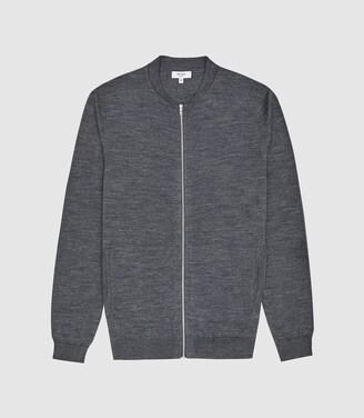Reiss Aiden - Merino Wool Zip Through Top in Mid Grey Melange