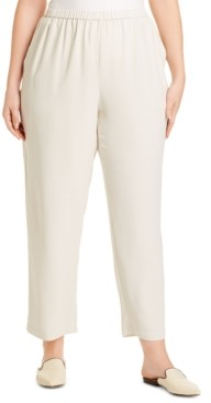 Eileen Fisher System Plus Size Straight-Fit Silk Pull-On Pants
