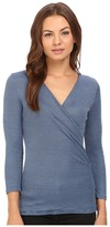 Michael Stars 2x1 Shine 3/4 Sleeve Surplice Top