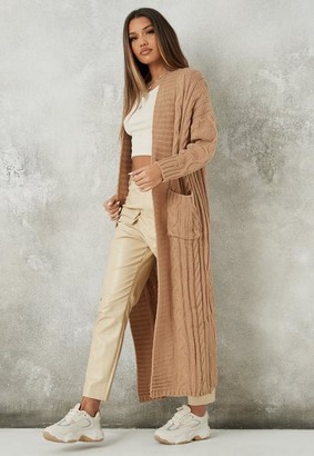 Missguided Stone Cable Knit Maxi Cardigan