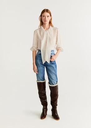 MANGO Bow polka-dot blouse off white - 2 - Women