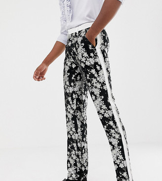 Asos Edition EDITION Tall slim tuxedo suit pants in monochrome floral jacquard-Black