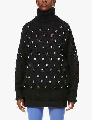 Junya Watanabe Stud-embellished turtleneck wool-, mohair- and alpaca-blend jumper