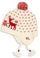 Ralph Lauren Toddler's & Little Girl's Pom-Pom Reindeer Earflap Hat