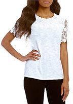 Allison Daley Wide Crew-Neck Lace Trim Short Sleeve Knit Top