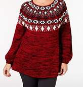 Style&Co. Style & Co. Womens Plus Fair Isle Space Dyed Pullover Sweater Red