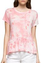 CK Calvin Klein Printed Hi-Lo Ruffled Top