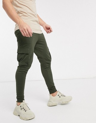 ONLY & SONS cargo cuffed joggers in green