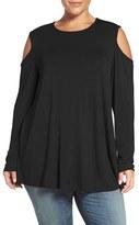 Bobeau Plus Size Women's Long Sleeve Cold Shoulder Top